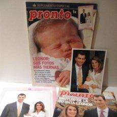 Coleccionismo de Revista Pronto: LOTE REVISTA PRONTO INFANTA LEONOR REVISTA Nº1749, SUPL. NACIMIENTO Y ESPECIAL BAUTIZO Y 2 FOTOS. Lote 43408870