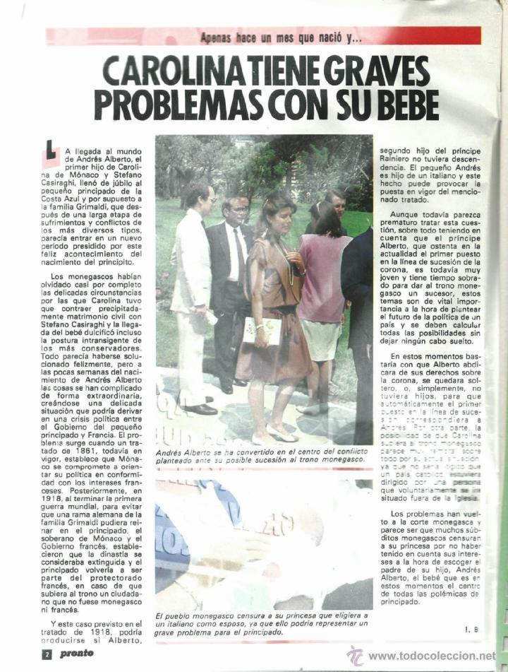 Coleccionismo de Revista Pronto: PRONTO Nº 636 CON CAROLINA DE MONACO Y PROBLEMAS CON SU BEBE - CAMILO SESTO - BERTIN DE 1984 - Foto 2 - 42738000