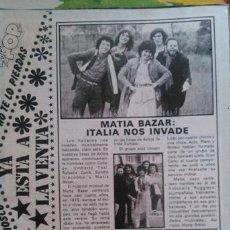 Coleccionismo de Revista Pronto: RECORTES MATIA BAZAR. Lote 220484527