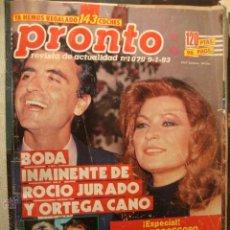 Coleccionismo de Revista Pronto: LA50 REVISTA PRONTO AÑO 1993 Nº 1079 ROCIO JURADO ORTEGA CANO LADY DI DIANA. Lote 45950581