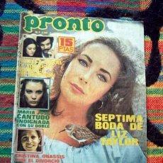 Coleccionismo de Revista Pronto: REVISTA PRONTO / UN,DOS,TRES, TRIO ACUARIO, ELIZABETH TAYLOR, PAYASOS DE LA TELE, PILAR VELAZQUEZ ++. Lote 46056236
