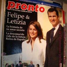 Coleccionismo de Revista Pronto: REVISTA - PRONTO, FELIPE Y LETIZIA LA PETICIÓN DE MANO, Nº 1645, AÑO 2003. Lote 15025559