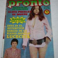 Coleccionismo de Revista Pronto: PRONTO Nº 149, 1975, ELVIS PRESLEY SE MUERE, MARISOL, PATRICIA BUFFA, CECILIA, BASILIO, POSTER SUZY. Lote 51128891