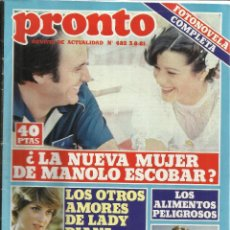 Coleccionismo de Revista Pronto: REVISTA PRONTO. AGOSTO. 1981. Nº 482. LADY DIANA. BERTÍN OSBORNE. MANOLO ESCOBAR. Lote 53719581