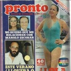 Coleccionismo de Revista Pronto: REVISTA PRONTO. JULIO. 1981. Nº 479. LOLA FLORES. LADY DIANA. MANOLO ESCOBAR. CAROLINA DE MÓNACO. Lote 53719670
