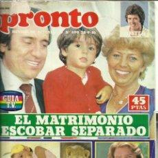 Coleccionismo de Revista Pronto: REVISTA PRONTO. SEPTIEMBRE. 1981. Nº 490. GREG EVIGAN. MANOLO ESCOBAR. MIGUEL BOSÉ. Lote 53739581