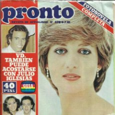 Coleccionismo de Revista Pronto: REVISTA PRONTO. JUNIO. 1981. Nº 487. LADY DIANA. JULIO IGLESIAS. MARI CARMEN Y SUS MUÑECOS. Lote 53739599