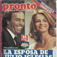 Coleccionismo de Revista Pronto: REVISTA PRONTO. ENERO. 1981. Nº 455. JULIO IGLESIAS. SARA MONTIEL. ANTONIO GONZÁLEZ. Lote 64177729