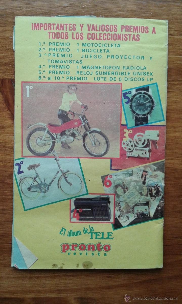 Coleccionismo de Revista Pronto: OBSEQUIO REVISTA PRONTO. EL ALBUM DE LA TELE. TIENE ALGUN CROMO - Foto 2 - 54051422