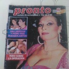 Coleccionismo de Revista Pronto: REVISTA PRONTO N'746 AÑO 1986 ROCIO JURADO REDUCE SU PECHO. Lote 56147950