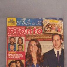 Coleccionismo de Revista Pronto: REVISTA PRONTO - NUMERO 2012 - 27/11/2010 - GUILLERMO DE INGLATERRA Y KATE ANUNCIAN SU BODA. Lote 63120856