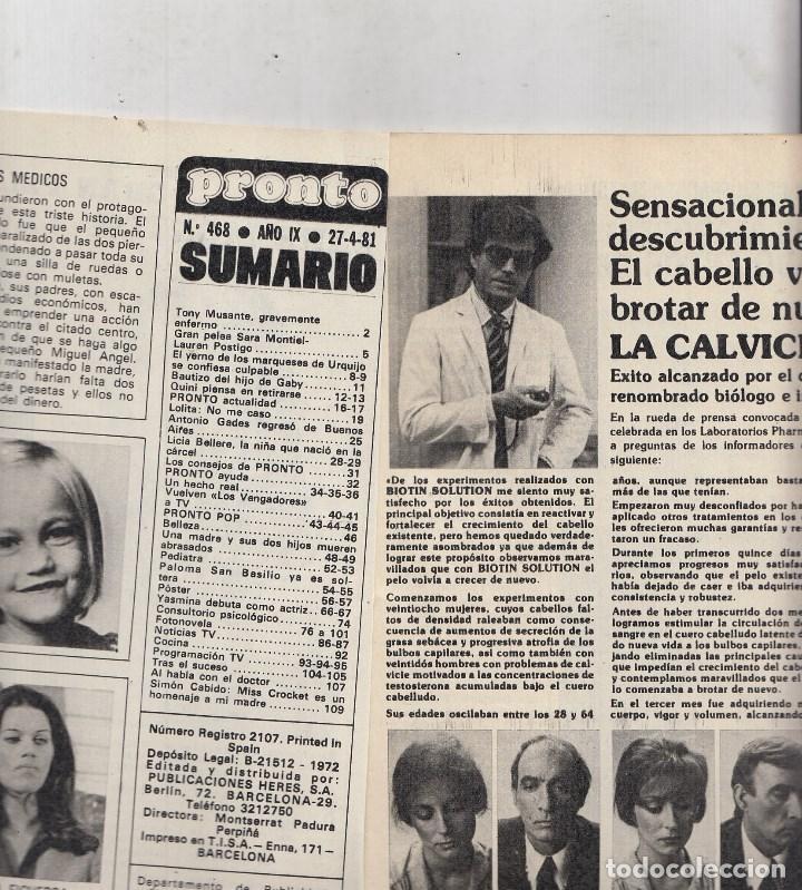 Coleccionismo de Revista Pronto: REVISTA PRONTO Nº 468 AÑO 1981. QUINI. YA PIENSO EN RETIRARMA. POSTER ANGELES DE CHARLIE - Foto 2 - 69367689