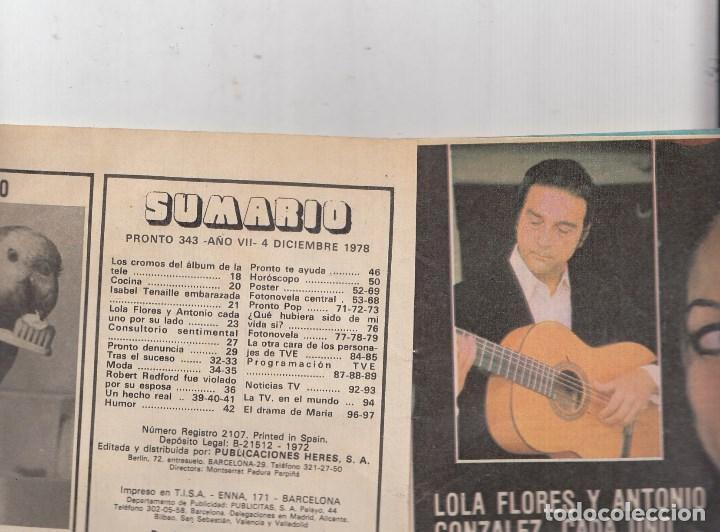 Coleccionismo de Revista Pronto: REVISTA PRONTO Nº 343 AÑO 1978. INCLUYE POSTER DE BENEY M. - Foto 2 - 69368317