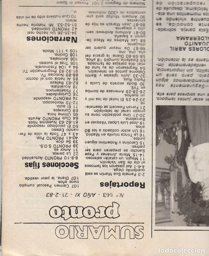 Coleccionismo de Revista Pronto: REVISTA PRONTO Nº 563 AÑO 1983. DUO JULIO IGLESIAS BERTIN OSBORNE. BODA PEDRO RUIZ Y LUCIA. - Foto 2 - 71120033