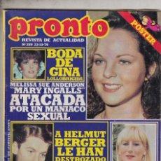 Coleccionismo de Revista Pronto: REVISTA PRONTO Nº 389 AÑO 1979. BODA DE GINA LOLLOBRIGIDA. POSTER PANTERA ROSA. JULIO IGLESIAS.. Lote 71121429