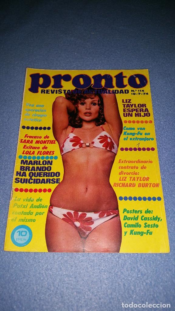 REVISTA PRONTO N. 114 . 19-7-74 LIZ TAYLOR, SARA MONTIEL, MARLON BRANDO, POSTER CAMILO SEXTO (Papel - Revistas y Periódicos Modernos (a partir de 1.940) - Revista Pronto)