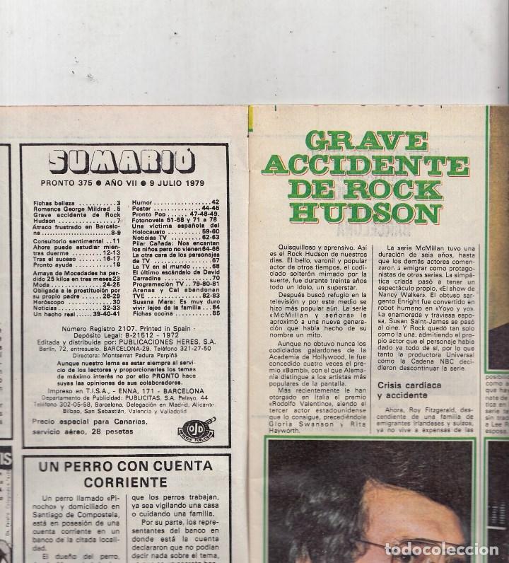 Coleccionismo de Revista Pronto: REVISTA PRONTO Nº 375 AÑO 1979. ROMANCE MILDRED Y GEORGE. POSTER: WILLIE AAMES. - Foto 2 - 72256591