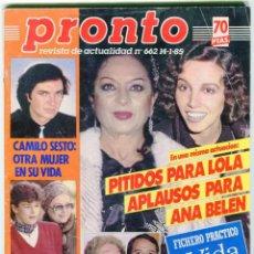 Coleccionismo de Revista Pronto: PROTO Nº 662 AÑO 1985 -AGUSTIN PANTOJA-BAUTIZO DEL HIJO DE CARLOS Y DIANA-LOLA FLORES-ESTEFANIA...... Lote 72323983