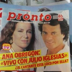 Coleccionismo de Revista Pronto: PRONTO ANA OBREGON JULIO IGLESIAS. Lote 75496499