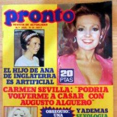 Coleccionismo de Revista Pronto: PRONTO 265 CARMEN SEVILLA BAUTIZO ROCIO CARRASCO JURADO POSTER MIGUEL BOSE MARIONETAS CAMILO ORNELLA. Lote 95087607