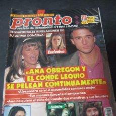 Coleccionismo de Revista Pronto: PRONTO 7/92 ANA OBREGON CAMARON DE LA ISLA BRUCE SPRINGSTEEN EL FARY ISABEL PRESLEY SIGOURNEY WEAVER. Lote 99197643