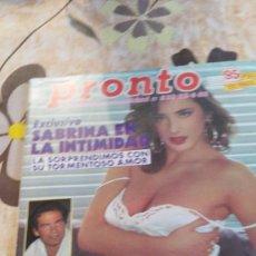 Coleccionismo de Revista Pronto: PRONTO - 23 -4 -1988 - SABRINA SALERNO PORTADA 14F -4P. Lote 101019218