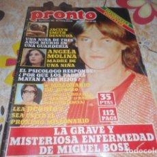Coleccionismo de Revista Pronto: PRONTO - 20 -10 - 1980 - JACLYN SMITH 3F -1P - PALOMA SAN BASILIO 4F -1P. Lote 100749215