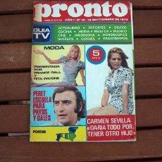 Coleccionismo de Revista Pronto: PRONTO Nº 18 / OLIMPIADA MUNICH 1972, PERET, CARMEN SEVILLA, FRANCE GALL, RITA PAVONE, LONE STAR. Lote 107289999