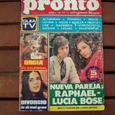 Coleccionismo de Revista Pronto: REVISTA PRONTO Nº 17 / LANA WOOD, JUANJO MENENDEZ, JAIME MOREY, NATALIA FIGUEROA, LUCIA BOSE / 1972. Lote 110032095