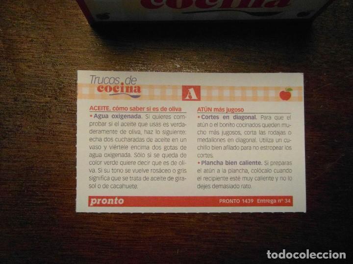 Coleccionismo de Revista Pronto: Coleccion fichas trucos de cocina. Revista Pronto - Foto 3 - 196567436