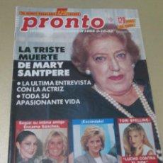 Coleccionismo de Revista Pronto: PRONTO 10/92 ANDONI FERREÑO UN DOS TRES ROCIO JURADO LOLITA ISABEL PANTOJA MARY SANTPERE. Lote 115760203