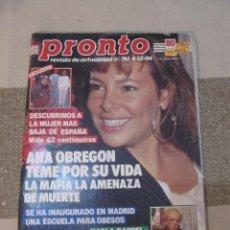Coleccionismo de Revista Pronto: PRONTO 12/86 ANA OBREGON SERRAT MOCEDADES IVAN ANA BELEN PACO CAMINO HOMBRES G AUTE RAPPEL. Lote 115763795