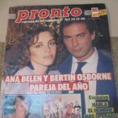 Coleccionismo de Revista Pronto: PRONTO 1986 SERGIO Y ESTIBALIZ ANA BELEN LIZ TAYLOR CARMEN SEVILLA CHARLTON HESTON FEDRA LORENTE. Lote 115770195