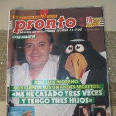 Coleccionismo de Revista Pronto: PRONTO 1992 LIZ TAYLOR CHARO PASCUAL MARTES Y TRECE FERNANDO CARRILLO ARANCHA DEL SOL BERTIN OSBORNE. Lote 115770639