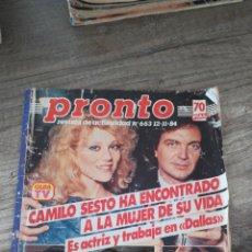 Coleccionismo de Revista Pronto: REVISTA PRONTO 653 * 12-11-84 * CAMILO SESTO + MANOLO ESCOBAR + GRACE KELLY + LADY DIANA * 9. Lote 118713539