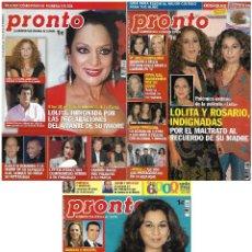 Coleccionismo de Revista Pronto: LOTE 3 REVISTAS PRONTO - LOLITA FLORES 2005 - 2009 KIKO RIVER - CARMEN MACHI - LETIZIA REV0296. Lote 120536207