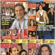 Coleccionismo de Revista Pronto: LOTE 4 REVISTAS PRONTO - DAVID BISBAL 2005 - 2009 JULIÁN MUÑOZ - RAQUEL MOSQUERA - LETIZIA REV0298. Lote 120538355