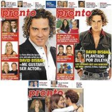 Coleccionismo de Revista Pronto: LOTE 3 REVISTAS PRONTO - DAVID BISBAL 2013 - 2014 RAQUEL MOSQUERA - SHAKIRA Y PIQUÉ REV0300. Lote 120541759