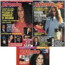 Coleccionismo de Revista Pronto: LOTE 3 REVISTAS PRONTO - ROSARIO FLORES 1996 - 2006 REV0294. Lote 120485315