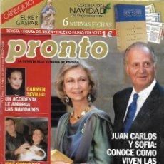 Collectionnisme de Magazine Pronto: REVISTA PRONTO Nº 1598 21-12-2002 JUAN CARLOS Y SOFÍA - CARMEN SEVILLA - JOSÉ CORONADO REV0150. Lote 121201591