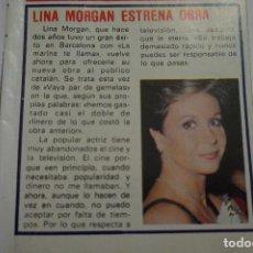 Coleccionismo de Revista Pronto: RECORTE REPORTAJE CLIPPING DE LINA MORGAN REVISTA PRONTO Nº 452. Lote 125467074