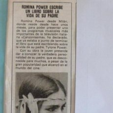 Coleccionismo de Revista Pronto: RECORTE REPORTAJE CLIPPING DE ROMINA POWER REVISTA PRONTO Nº 504 PAG. 6. Lote 123431547