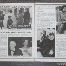 Coleccionismo de Revista Pronto: RECORTE PRONTO 205 1976 CARLO PONTI, SOFIA LOREN. Lote 125261695