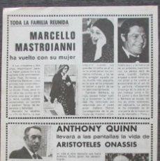 Coleccionismo de Revista Pronto: RECORTE PRONTO 205 1976 MARCELLO MASTROIANNI, ANTHONY QUINN. Lote 125261847