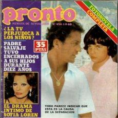 Coleccionismo de Revista Pronto: REVISTA PRONTO Nº 434 SOFIA LOREN, ESTEFANÍA DE MÓNACO, CARMEN CERVERA, CÓDIGO RESCATE. Lote 134114894