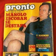Coleccionismo de Revista Pronto: PRONTO Nº 292 (1977) POSTER MIGUEL EL TRAVIESO - FOTONOVELA -M. ESCOBAR, AZAFATAS DEL UN, DOS, TRES. Lote 135798758