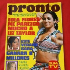 Coleccionismo de Revista Pronto: PRONTO Nº 62 (1973) (DIFICIL) PEDRO RUIZ - KIKO LEGARD - FICHA: DON CICUTA - LOLA FLORES -LIZ TAYLOR. Lote 137318834