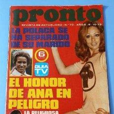 Coleccionismo de Revista Pronto: PRONTO Nº 73 (1973) (DIFICIL) LA POLACA - CAMILO SESTO - SUSAN DAY - EMMA COHEN. Lote 137327038