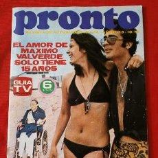 Coleccionismo de Revista Pronto: PRONTO Nº 74 (1973) (DIFICIL) MAXIMO VALVERDE - DON CICUTA - HERMIDA - FICHA. ELVIS - MIS ARAGON. Lote 137328106