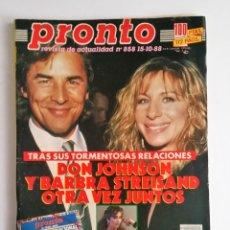 Coleccionismo de Revista Pronto: REVISTA PRONTO 858 - BEN JOHNSON - SABRINA SALERNO - BARBARA REY - DON JOHNSON. Lote 139693914